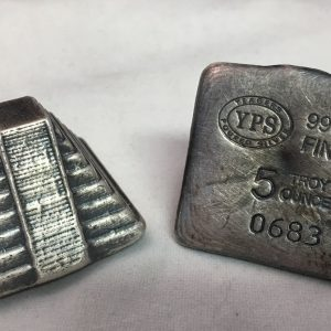 5 Oz. YEAGER'S POURED SILVER AZTEC PYRAMID (with patina)