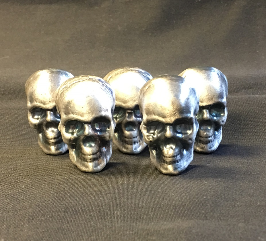 100 Gram Yeager S Poured Silver Skull With Patina