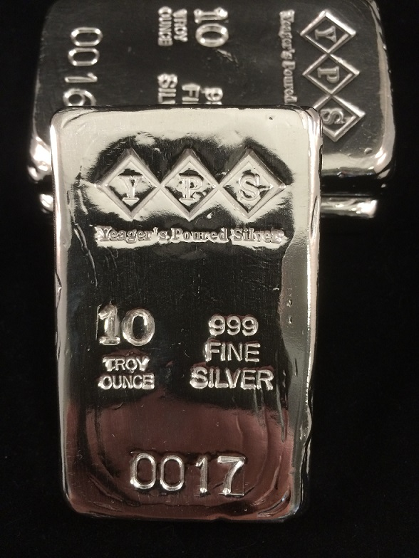 10 Oz. YEAGER'S POURED SILVER BAR