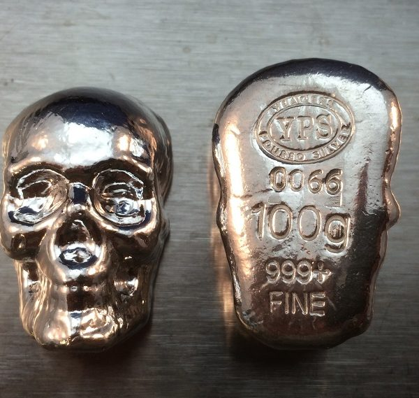 100 Gram YEAGER'S POURED SILVER SKULL (without patina)