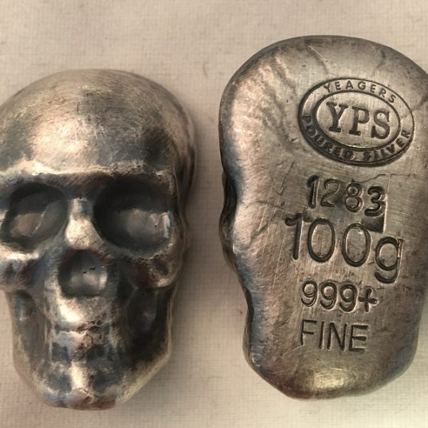 100 Gram YEAGER'S POURED SILVER SKULL (with patina)
