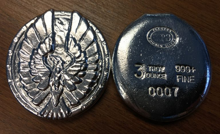 3 Oz. YEAGER'S POURED SILVER PHOENIX