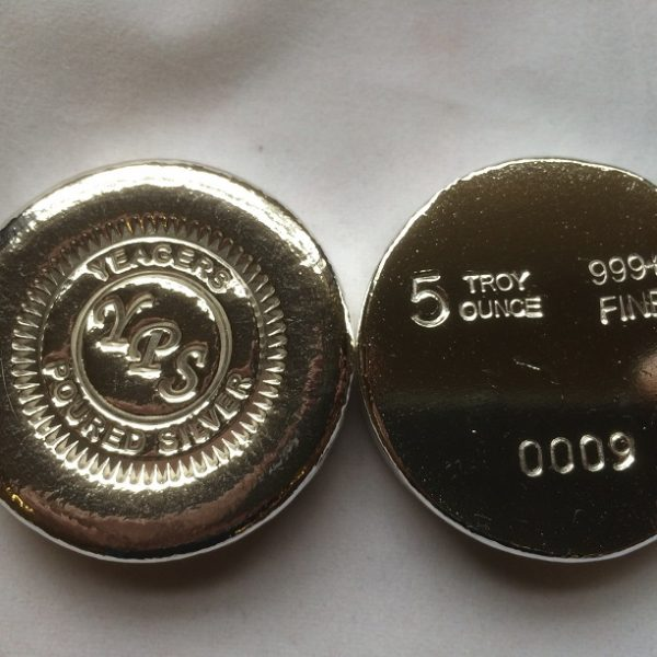 5 Oz. YEAGER'S POURED SILVER BUTTON